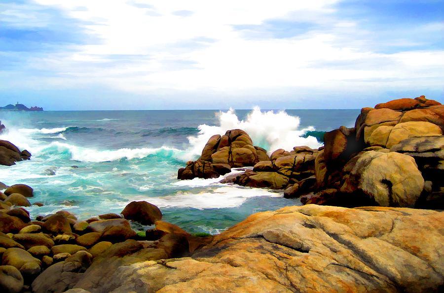 Nature Painting - Waves Crashing On Shoreline Rocks by Elaine Plesser