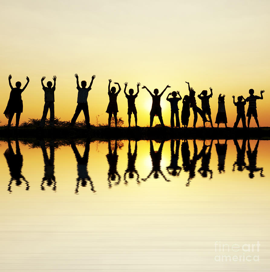 Waving Children Photograph  - Waving Children Fine Art Print