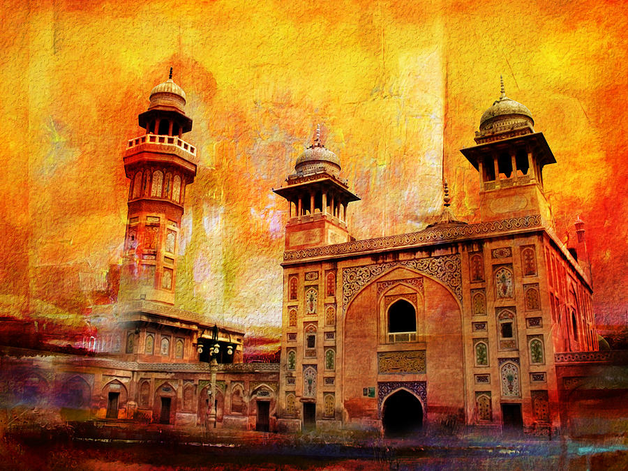 Wazir Khan Mosque Painting  - Wazir Khan Mosque Fine Art Print