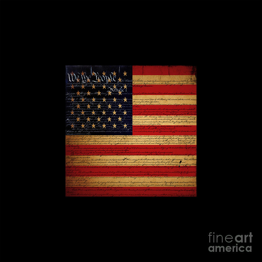 We The People - The Us Constitution With Flag - Square Black Border Photograph