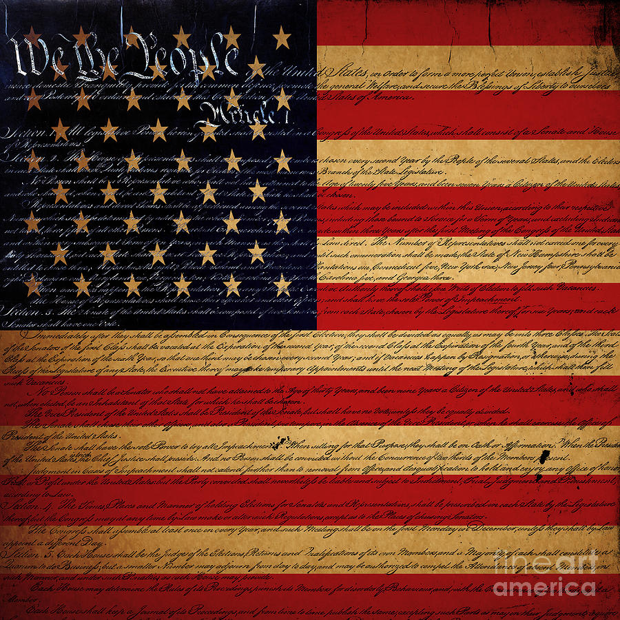 We The People - The Us Constitution With Flag - Square V2 Photograph  - We The People - The Us Constitution With Flag - Square V2 Fine Art Print