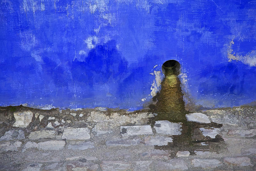 Weathered Blue Wall Of Old World Europe Photograph