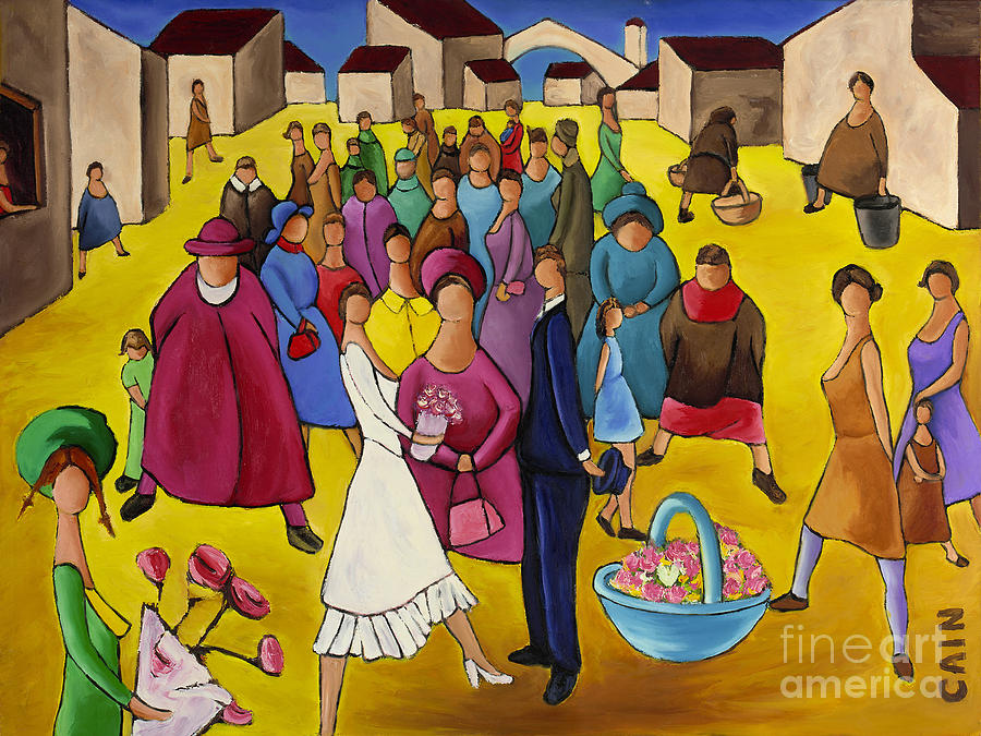 Wedding In Plaza Painting
