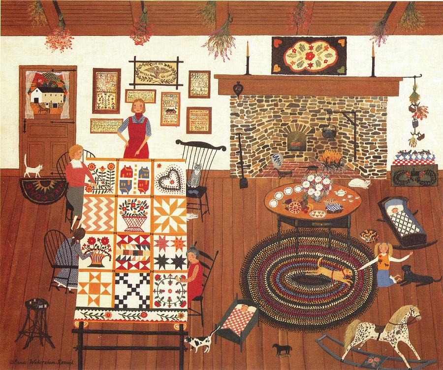 Interior Scene By Sandi Wickersahm Resnick Titled Wednesday Keeps Painting - Wednesday In Stiches by Sandi Wickersham