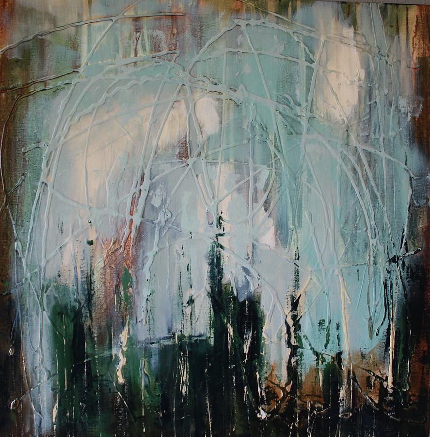 Abstract In Blue Painting - Weep by Lauren Petit