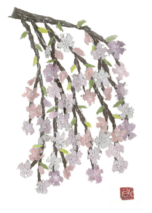 Weeping Cherry Hand-torn Newspaper Collage Art  Painting