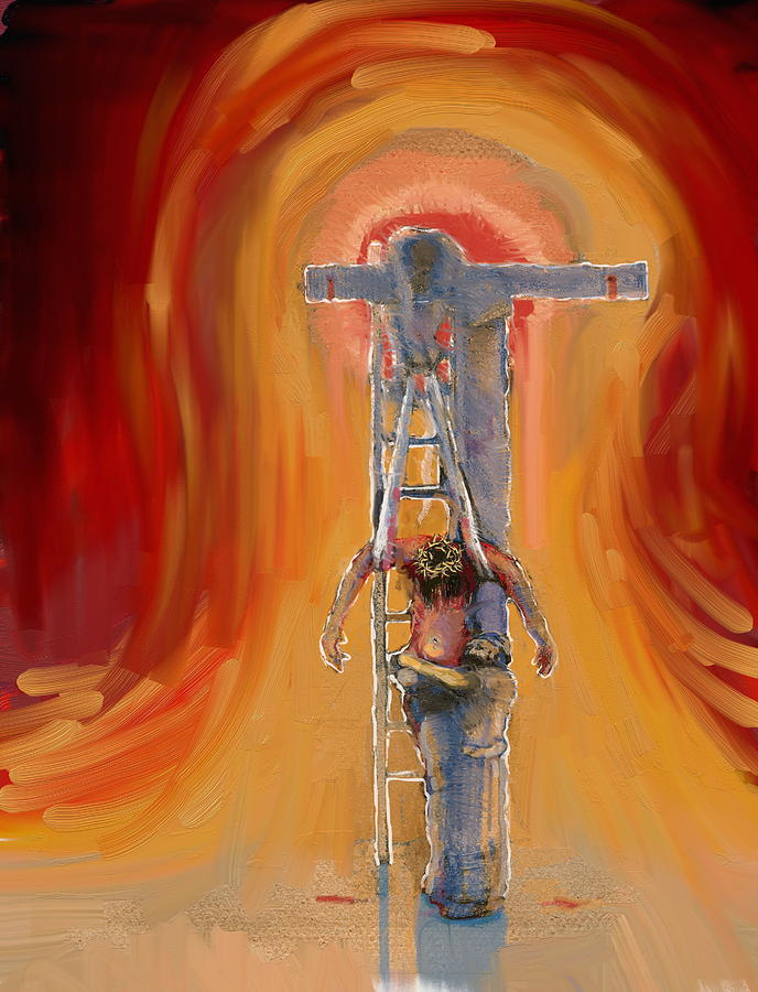 Crucifixion Painting - Weeping by Daniel Bonnell