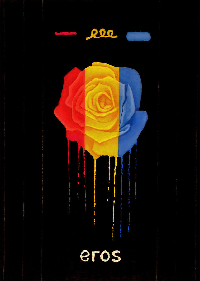 Weeping Rainbow Rose Drawing