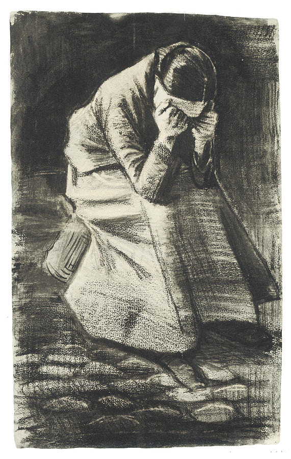 Vincent Van Gogh Drawing - Weeping Woman by Vincent van Gogh