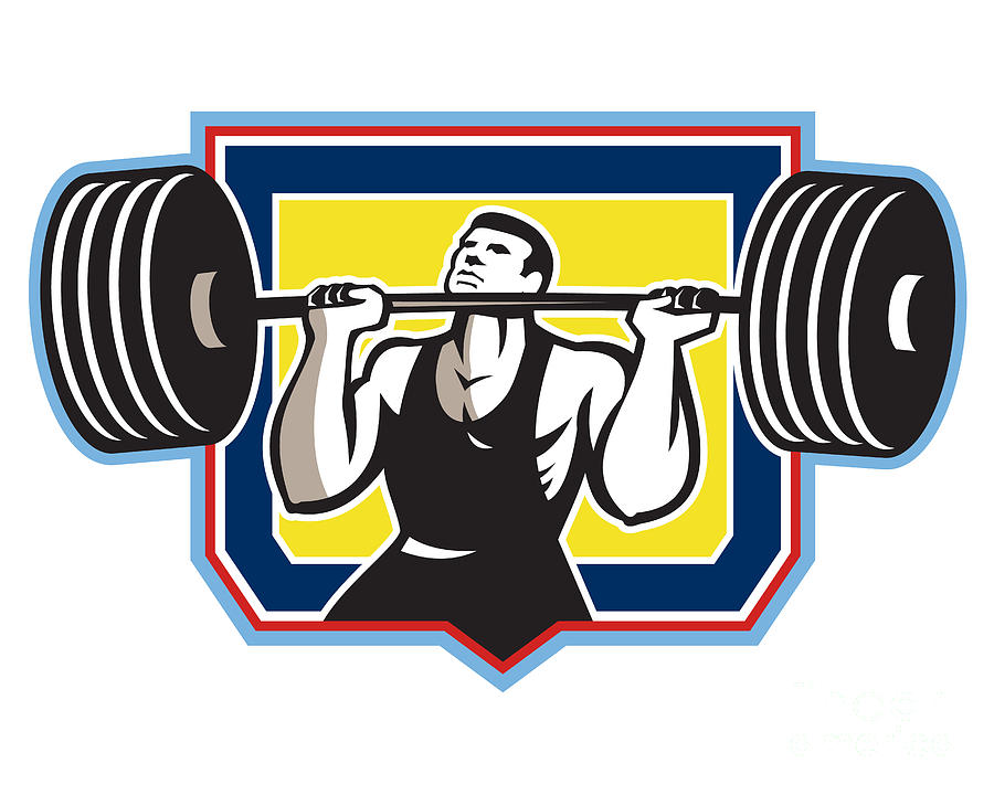 Weightlifter Lifting Heavy Barbell Retro Digital Art