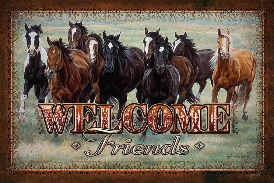 Welcome Friends Horses Painting  - Welcome Friends Horses Fine Art Print