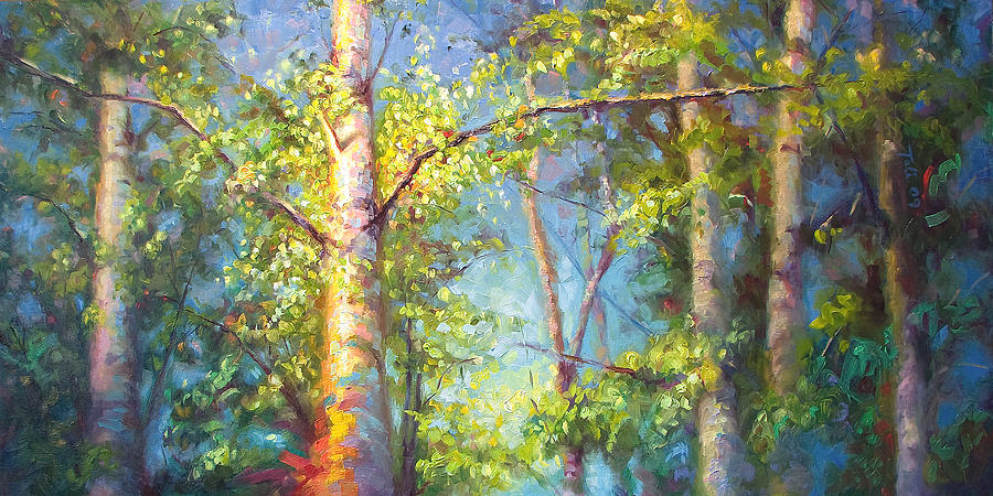 White Painting - Welcome Home - Birch And Aspen Trees by Talya Johnson