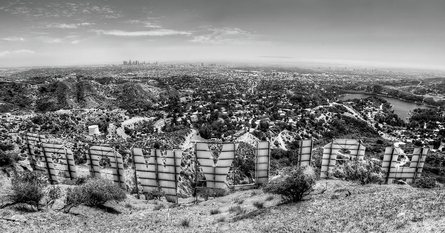 Welcome To Hollywood - Bw Photograph