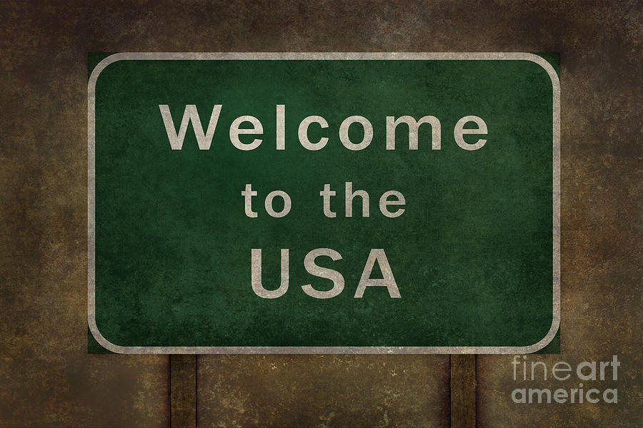 Welcome To The Usa Highway Road Side Sign Digital Art By
