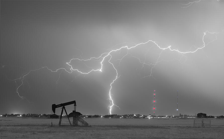 Lightning Photograph - Weld County Dacona Oil Fields Lightning Thunderstorm Bwsc by James BO  Insogna