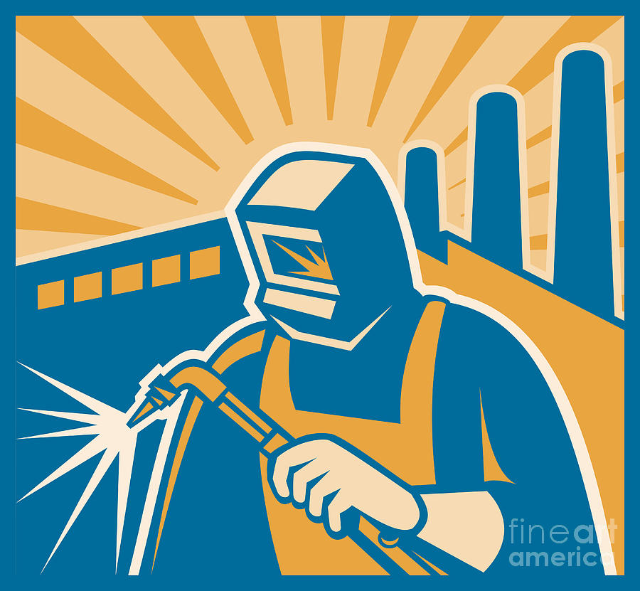Welder Welding Factory Retro Woodcut Digital Art