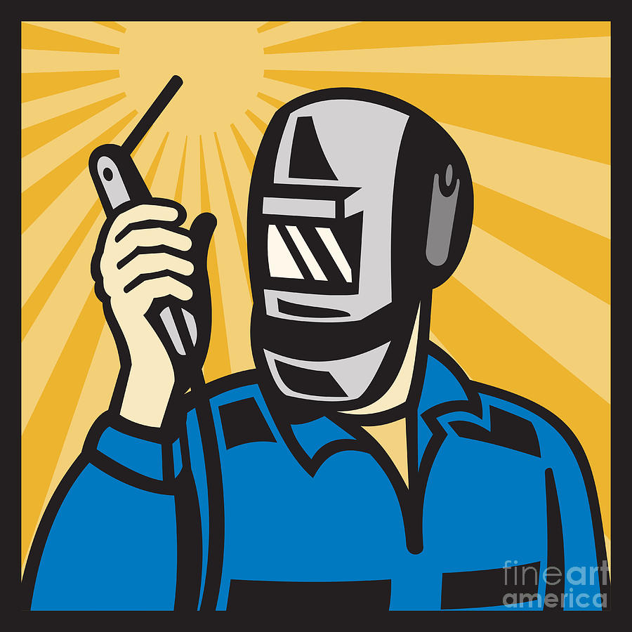 Welder With Welding Torch Visor Retro Digital Art