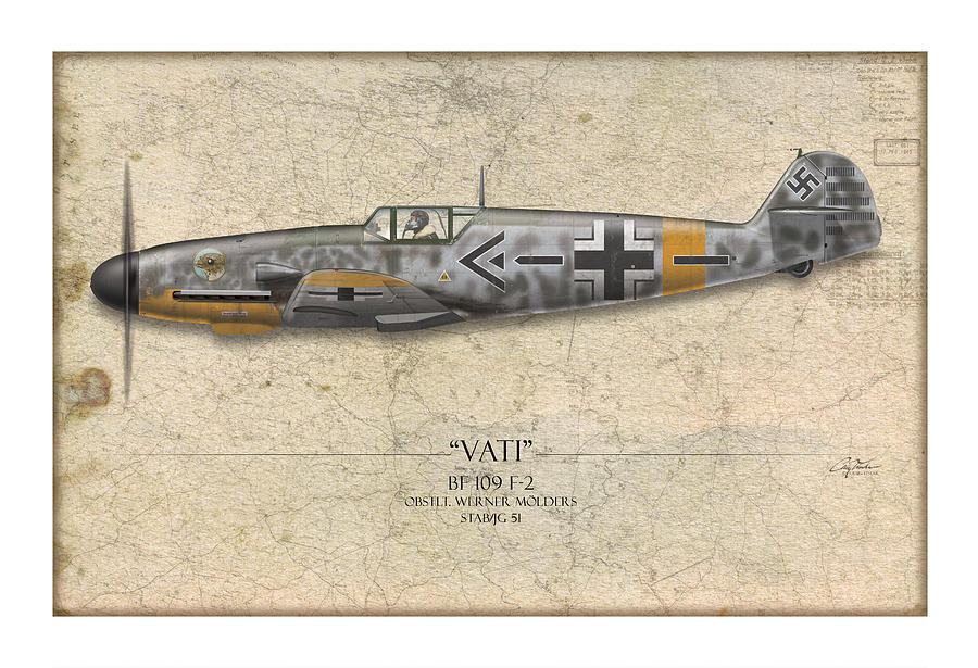Werner Molders Messerschmitt Bf-109 - Map Background Painting  - Werner Molders Messerschmitt Bf-109 - Map Background Fine Art Print