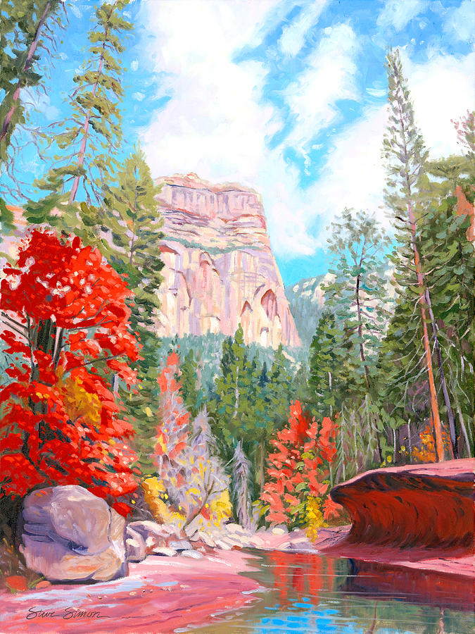 Sedona Painting - West Fork - Sedona by Steve Simon