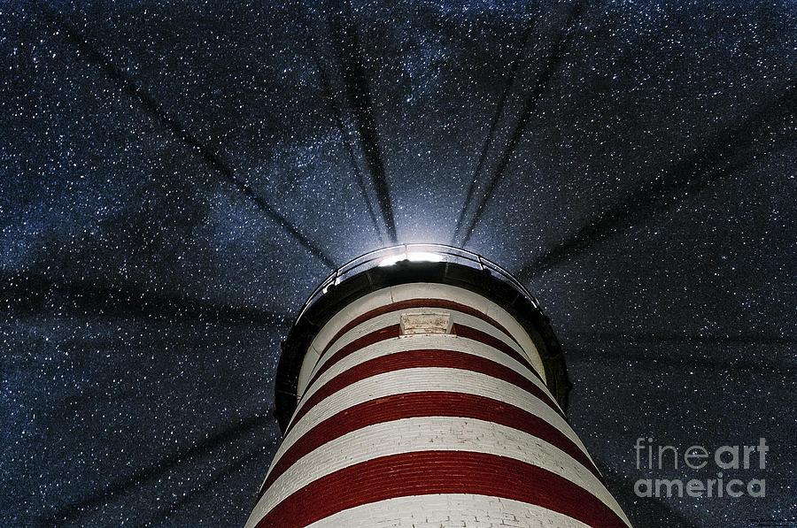 West Quoddy Head Lighthouse Night Light Photograph