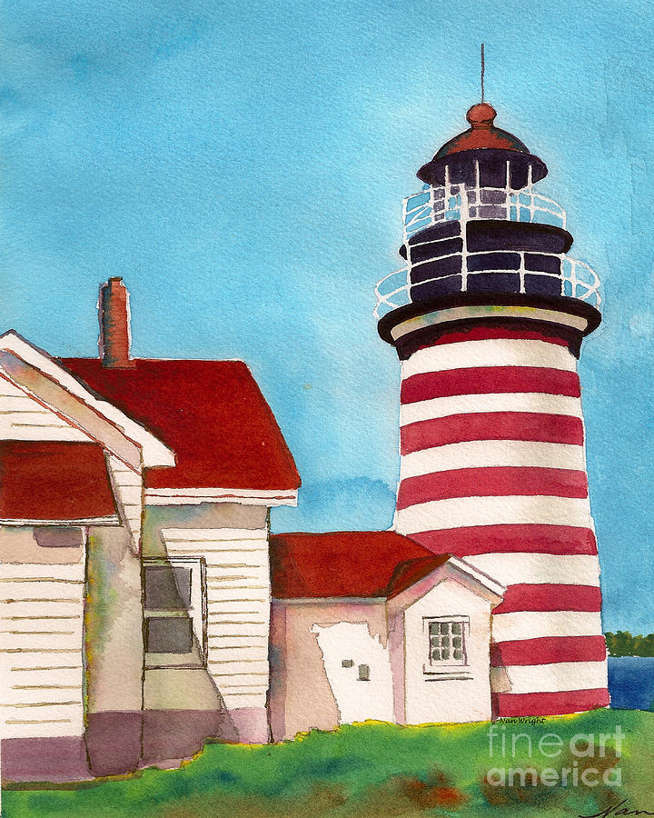 Westlight House: West Quoddy Light House Painting By Nan Wright