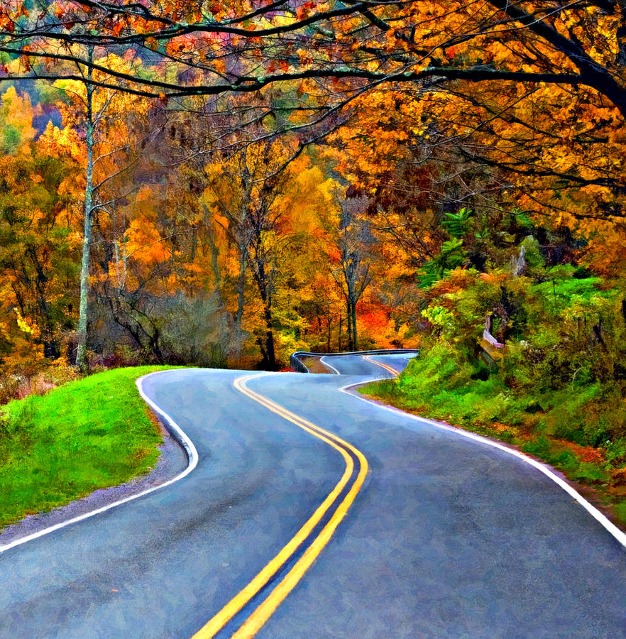 West Virginia Curves 2 Oil Photograph