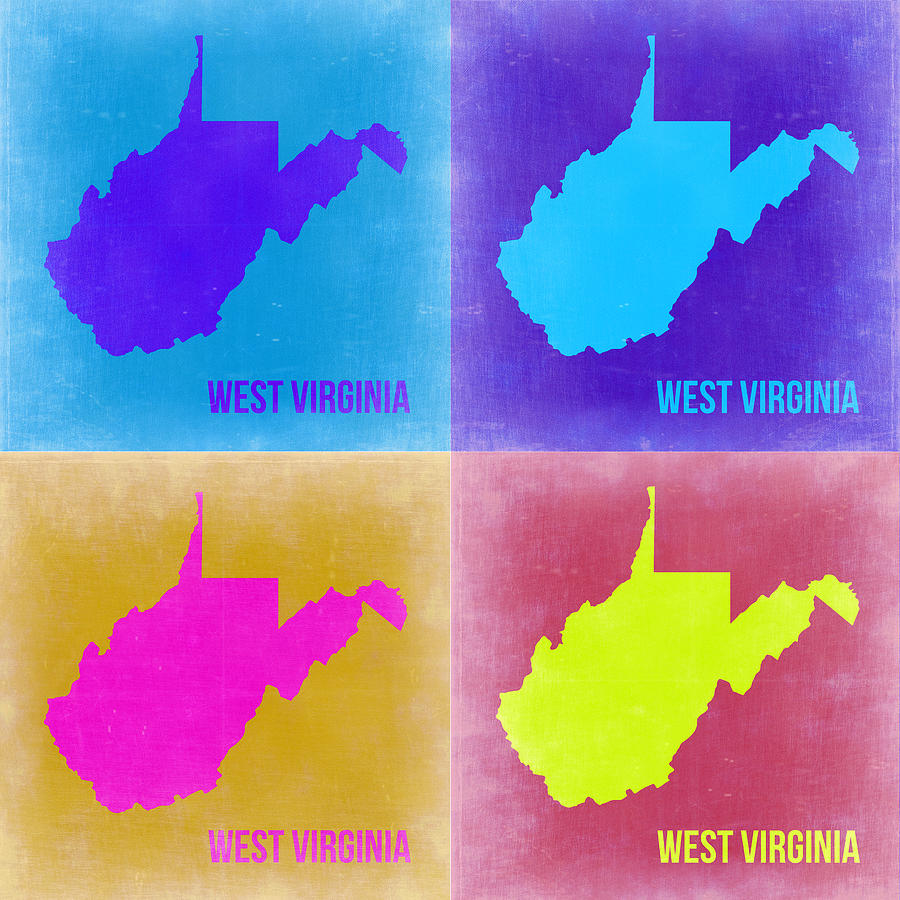West Virginia Pop Art Map 2 Painting  - West Virginia Pop Art Map 2 Fine Art Print