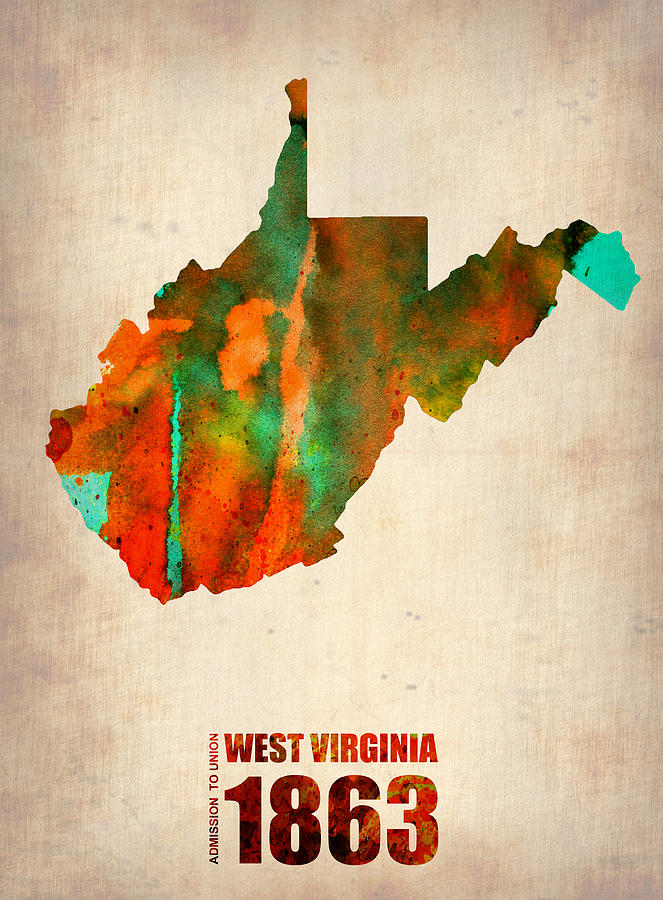 West Virginia Watercolor Map Digital Art