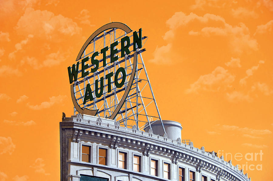 Andee Design Western Auto Sign Photograph - Western Auto Sign Artistic Sky by Andee Design