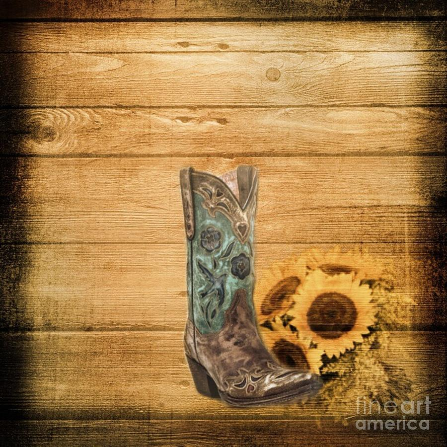 western country barn wood cowboy boots sunflower art mixed