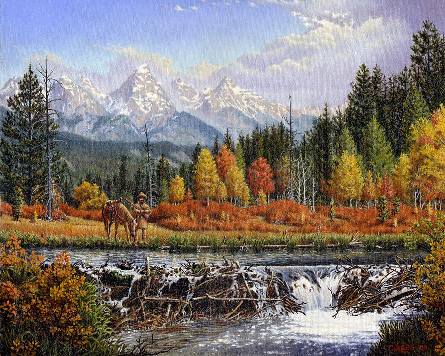 Western Mountain Landscape Autumn Mountain Man Trapper Beaver Dam Americana Oil Painting Orange  Painting  - Western Mountain Landscape Autumn Mountain Man Trapper Beaver Dam Americana Oil Painting Orange  Fine Art Print
