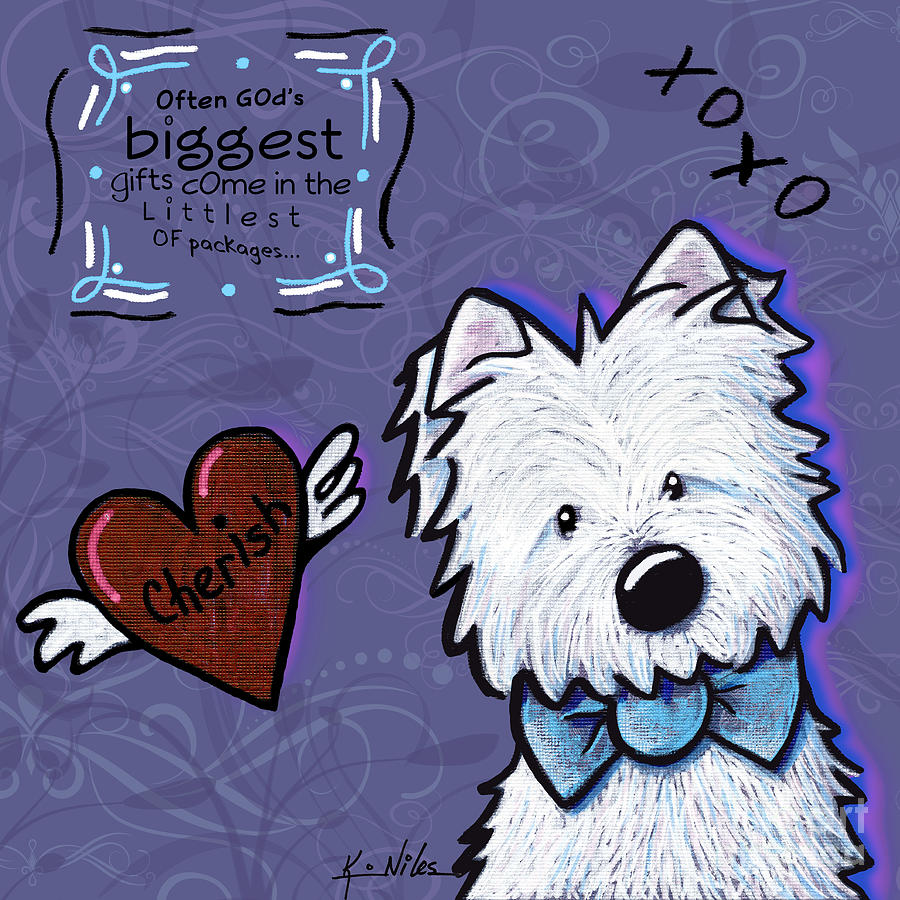 Westie Wall Drawing  - Westie Wall Fine Art Print