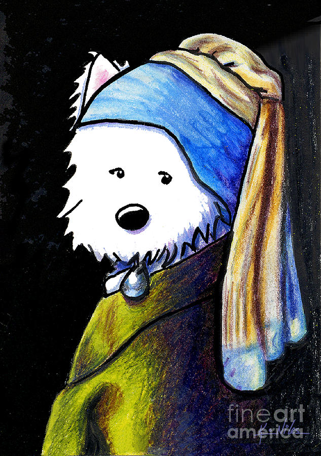 Westie With Pearl Earring Drawing  - Westie With Pearl Earring Fine Art Print