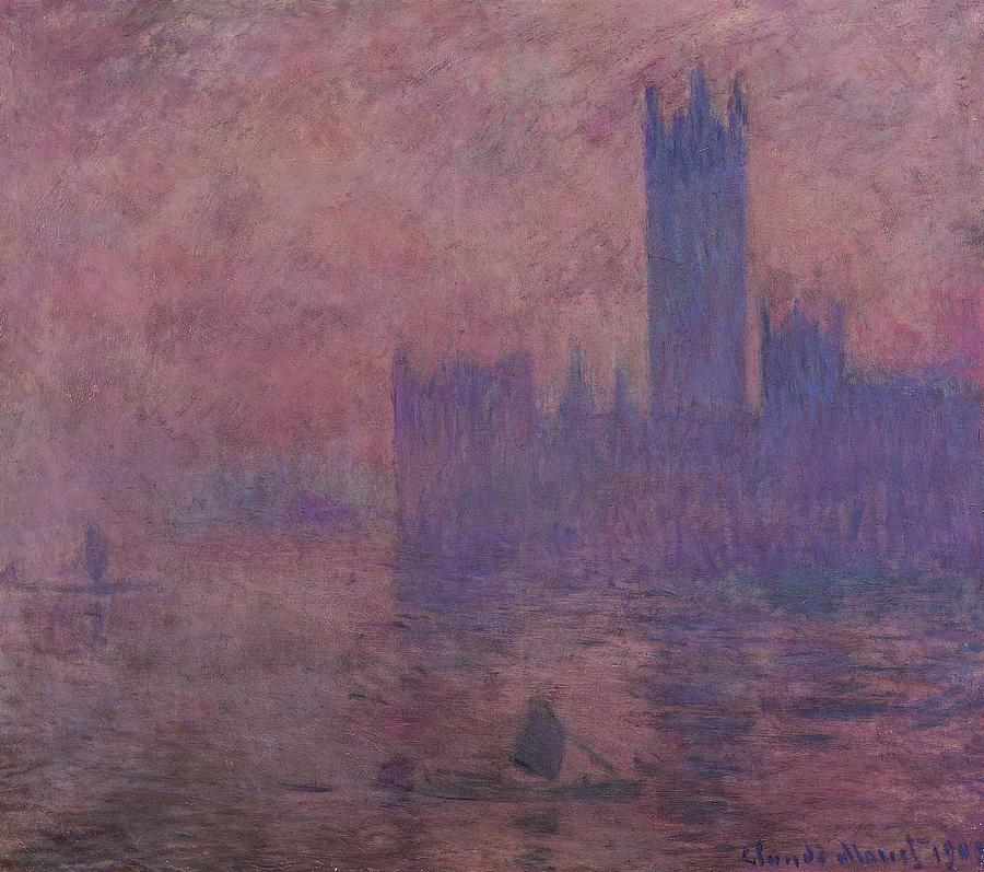 Art; Painting; Europe; United Kingdom Of Great Britain And Northern Ireland; England; London; Thames River; Monet Claude; Fog; Impressionism Painting - Westminster Tower by Claude Monet