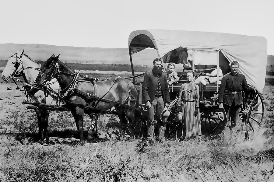 Westward Family In Covered Wagon C. 1886 Photograph  - Westward Family In Covered Wagon C. 1886 Fine Art Print