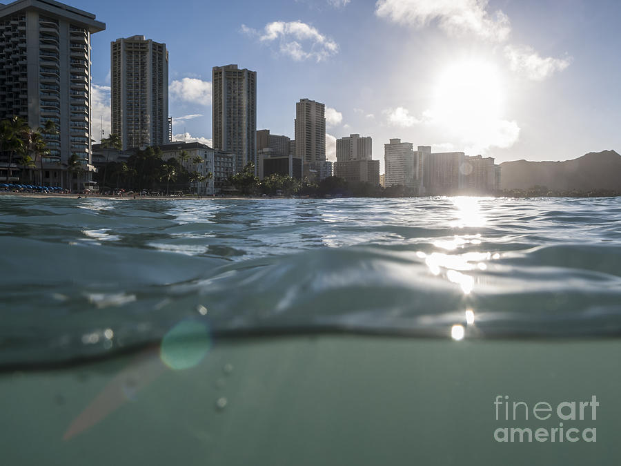 Wet Waikiki Sunrise In Honolulu Hawaii Photograph  - Wet Waikiki Sunrise In Honolulu Hawaii Fine Art Print