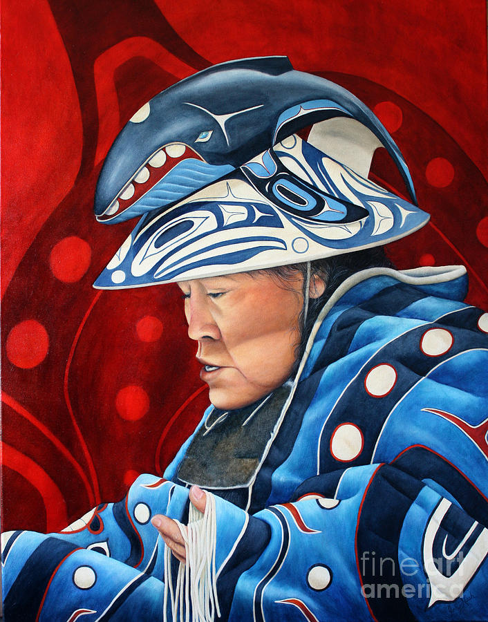 Wooden Hat Painting - Whale Woman by Joey Nash