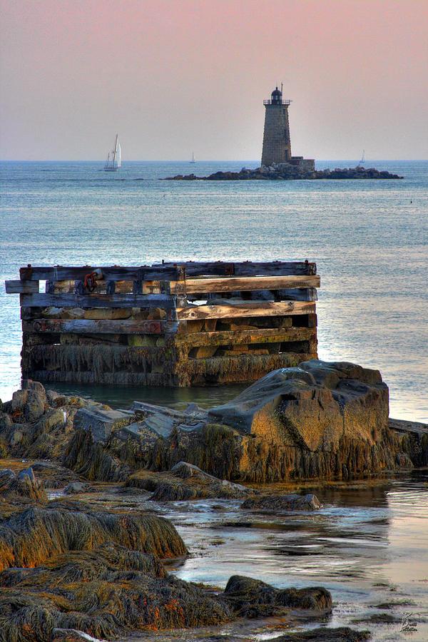 Sunset Photograph - Whaleback Lighthouse by Brett Pelletier