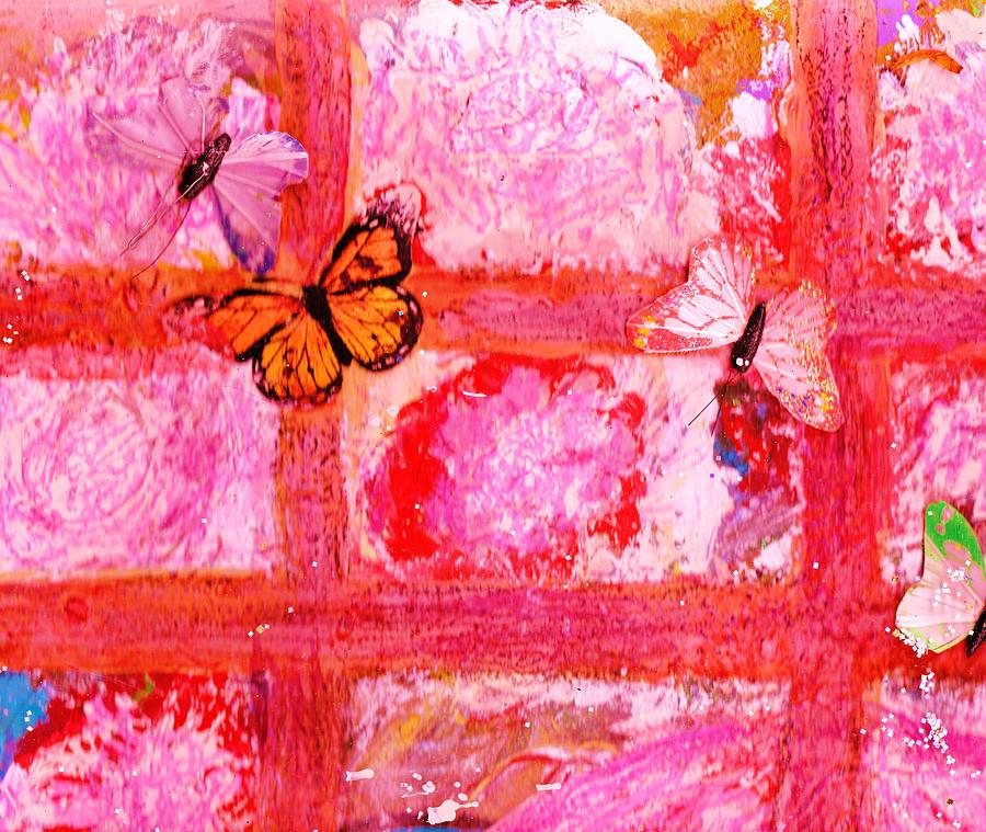 What Are All These Butterflies Doing Inside My Window ?  Work In Progress  Mixed Media