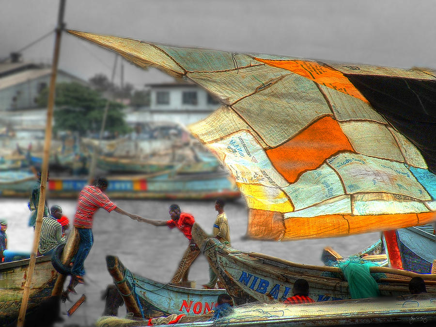 Whatever It Takes - Makeshift Sail At Tema Harbor Photograph  - Whatever It Takes - Makeshift Sail At Tema Harbor Fine Art Print