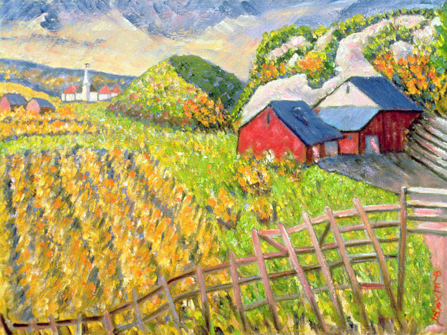 Farm Painting - Wheat Harvest Kamouraska Quebec by Patricia Eyre