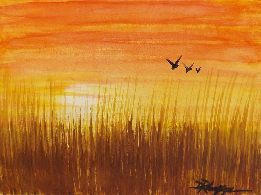 Wheatfield At Sunset Painting