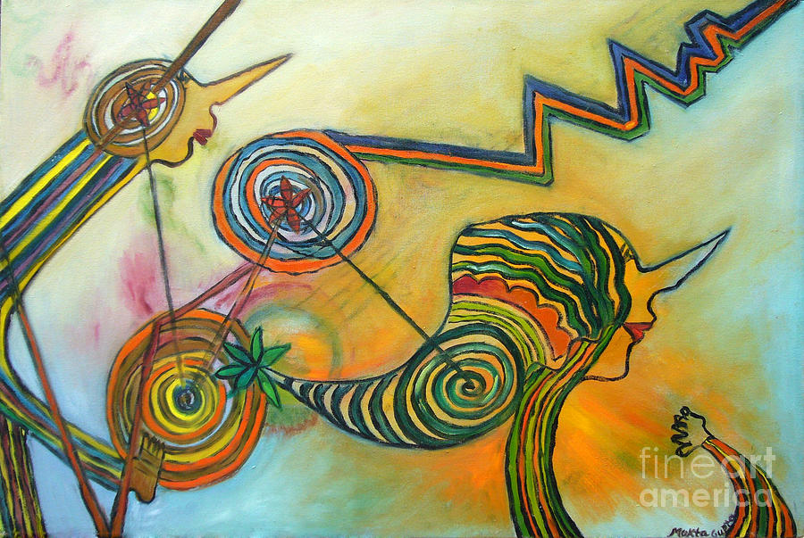 Abstract Painting - Wheels Of Time by Mukta Gupta