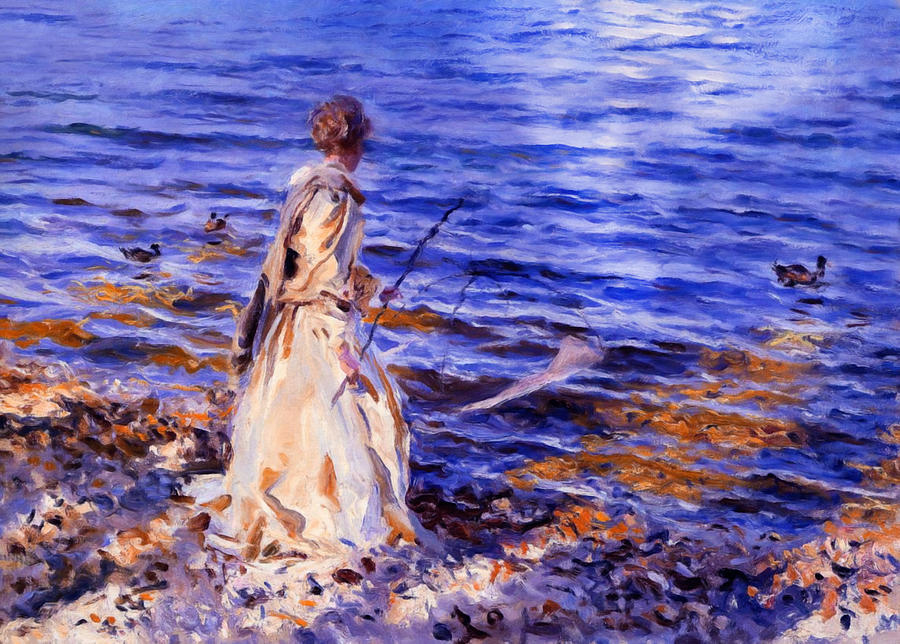 When A Woman Goes Fishing Painting