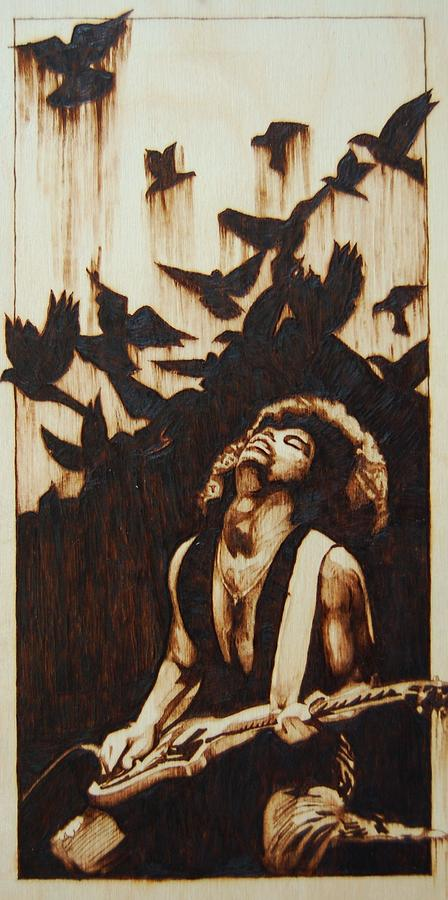 Marlon Ivory - Pyrography - Art On Wood - Prince - King - Queen - Wood Burning - Fine Art - Rock Art - Pop Art - Black Art - African Art - Birds - Doves - Dove Pyrography - When Doves Cry by Marlon Ivory