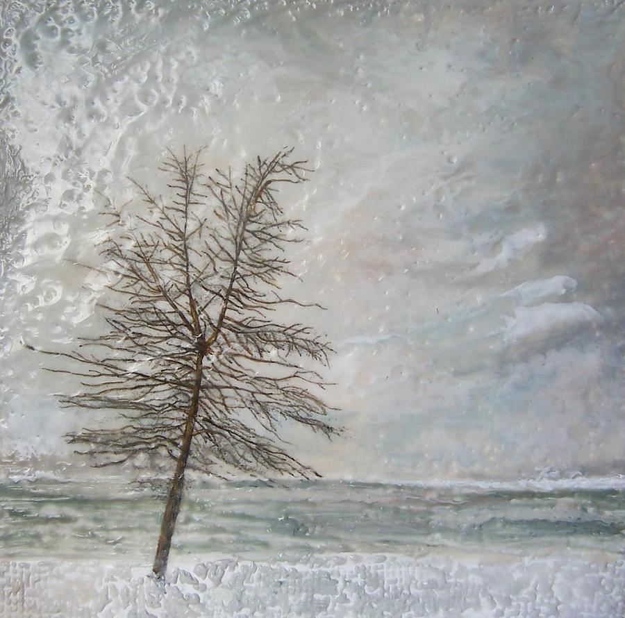 Winter Tree Painting - When Grey Matters by Victoria Primicias