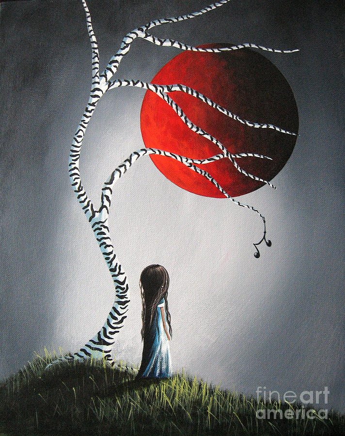 Red Moon Painting - When She Thinks About You By Shawna Erback by Shawna Erback