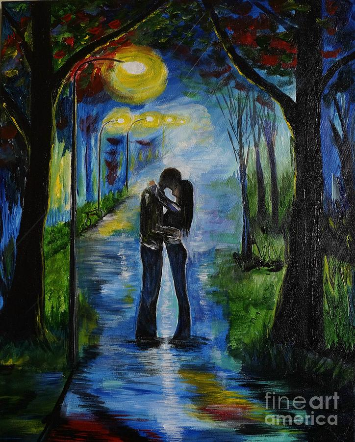 Couple Painting Painting - When We Fell In Love by Leslie Allen