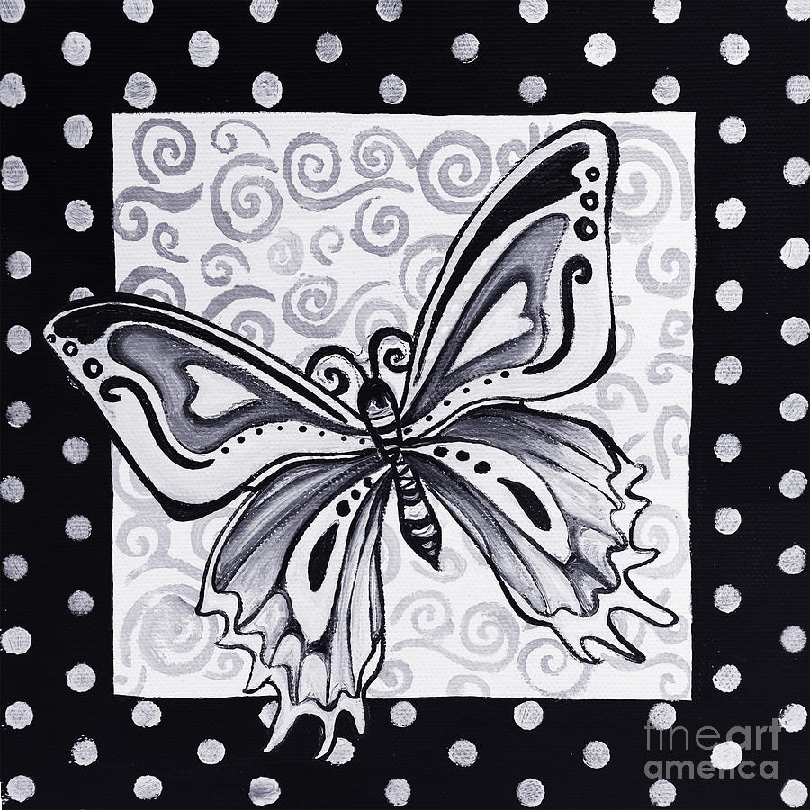 Whimsical Black And White Butterfly Original Painting Decorative Contemporary Art By Madart Studios Painting