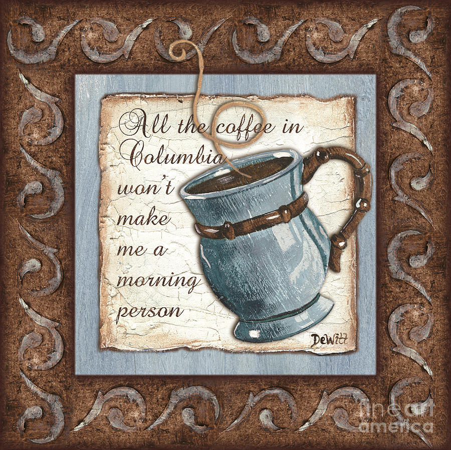 Whimsical Coffee 1 Painting  - Whimsical Coffee 1 Fine Art Print